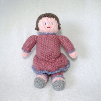 Knit Baby Doll, Sweetie, Brown Hair and Rose Pink Dress, Vintage Style Soft Dolly