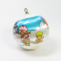 Blue Strawberry Shortcake Christmas Ornament 1984 Silk Ball