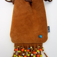 Peanut Butter Suede Sunrise Pouch with Turquoise Stud