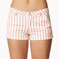 Bold Vertical Stripe Denim Shorts