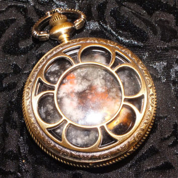 Glow In The Dark Galaxy Faux Pocketwatch Locket, with compartment