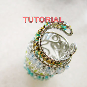 TUTORIAL- Adjustable Wire Wrapped Ring (Seed Beads) PDF