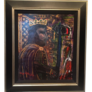 Original Abstract Art King Henry VIII Signed Oil Painting - Signed
