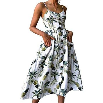 Nicesnowman Women Dresses Summer Holiday Sundress Floral Bohemian Spaghetti Strap Button Down Swing Midi Dress with Pockets