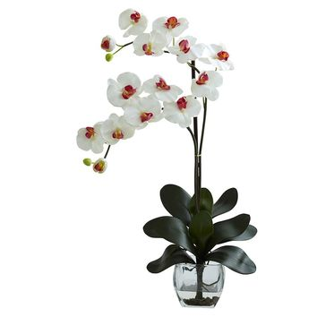 Silk Flowers -Double White Phal Orchid With Vase Artificial Plant