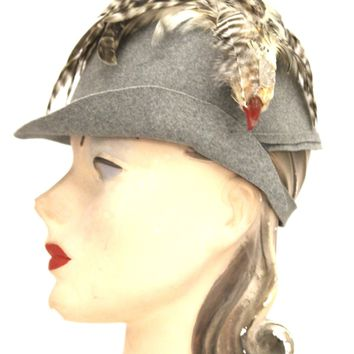 Vintage 1930s Knox  Cloche Hat Bird Head Pheasant Feathers Gray Felt XS Sherlock