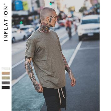 HCXX INFLATION Men's Solid Extended Elongated Plain T Shirt Bamboo Cotton