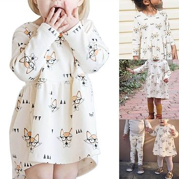 Girls Dress Fox Print Dress Baby Clothes Casual Style Cotton Long Sleeve Cartoon Cute Dress @ZJF