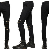 Slim Cotton Stretch Denim Pants Metal Ripped Holes Jeans [10368014979]