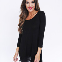 Solid Crochet Trim 3/4th Sleeve Top- Black