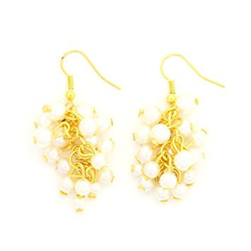 Faux Pearl Cluster Chandelier Earrings Gold Tone Beaded Fashion Jewelry