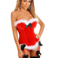 MOONIGHT Red Christmas Corset Top Sexy Ladies Santa Women Naughty Adult Christmas Costume Party Dress Fancy Dress
