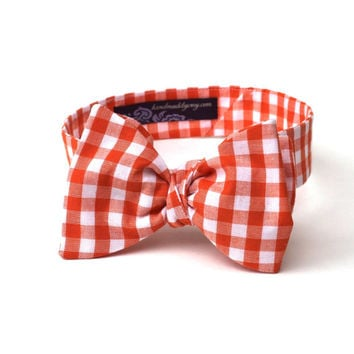 Men's Bow Tie - Orange Gingham - Orange and White Plaid Check - Adjustable
