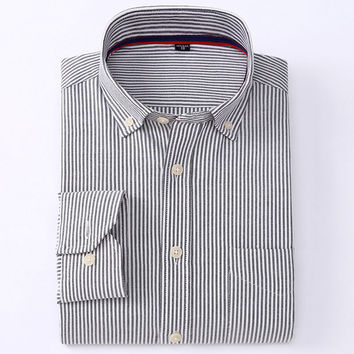 New Men Oxford Shirts Business Long Sleeve Regular Fit Brand Stripe Plaid Collar Button-up Men Casual Shirts
