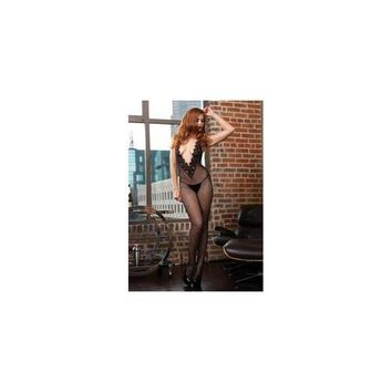 Fishnet Halter Bodystocking with Chantilly Lace Deep-v Front and Open Back - One Size