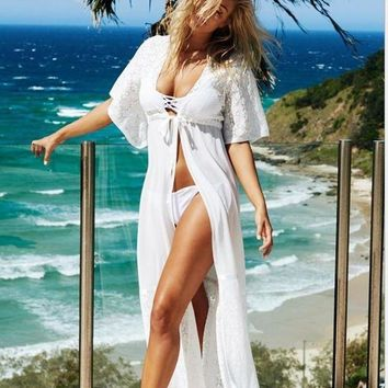 PEAPGC3 Beach Tunic Sexy Swimwear Cover Up Women beach cover up blouse Crochet Pareo Swimsuit coverups Summer Women Beach wear C0011