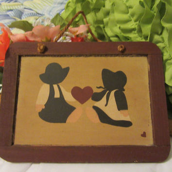Hand Painted Primitive Country Chalkboard - Primitive Girl and Boy in Blue and White Holding a Red Heart