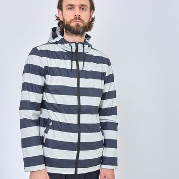 The Idle Man Striped Rubber Rain Jacket Navy & White