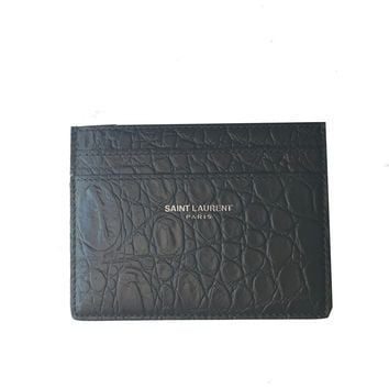 Saint Laurent YSL Gray Unisex Credit Card Case 375946