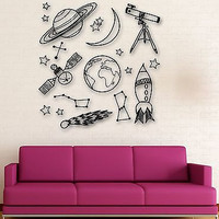 Wall Sticker Vinyl Decal Space Universe Astronomy for Kids Room Nursery (ig1910)