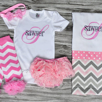 Monogrammed baby girl baby shower coming home outfit pink and gray onepiece bloomers burp cloth pink chevron leg warmers and pink headband