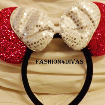 Minnie Mouse Ears Headband Red White Big Bow Mickey Mouse Ears, Disneyland, Disney World fast shipping