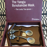 """Lucky Tea spoons, Peweter Spoons, Funny Spoons, Funny Gift, Byoulsandae Mask, The Yangju Byoulsandae Mask """"The Lucky Tea Spoon"""" Set"""