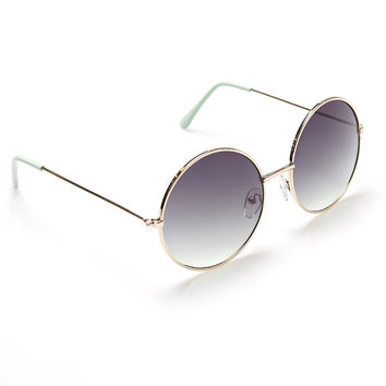 Round Sunglasses With Mint Tips | Wet Seal