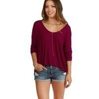 Burgundy Easy Dolman Shirt