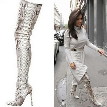 Luxury Brand Python Pattern Leather Pointed Toe Thigh High Boots Kim Women Snakeskin Over Knee Long Booty Shoes Plus Size 10