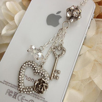 iPhone dust plug  phone dust plug Blackberry plug-Heart with key