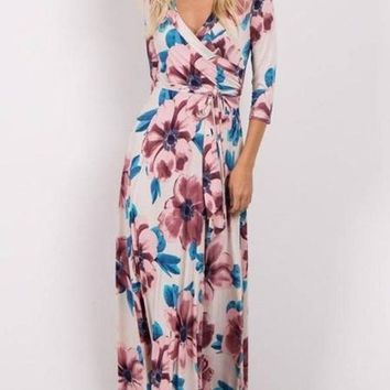 """Charlie"" Hawaiian Blooms floral wrap maxi dress"