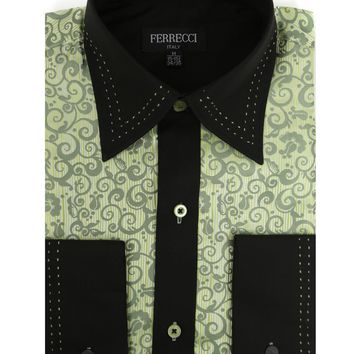 Ferrecci Men's Satine Hi-1008 Green Scroll Pattern Button Down Dress Shirt