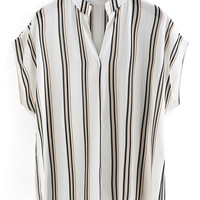 Band Collar Vertical Striped Blouse