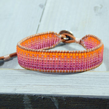 Faded Orange to Pink Ombre Loom woven friendship bracelet, leather beaded friendship bracelet