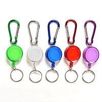 1X Colourful Retractable Strap Carabiner Clip Card label Key Chain Fancy Gift