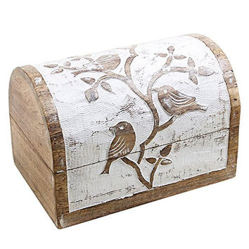 Wooden Jewelry Storage Boxes Organizers Hand Carved with Bird Motifs