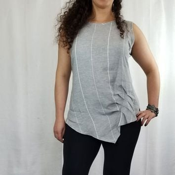 Italian Linen Sleeveless Top from inizio - striped