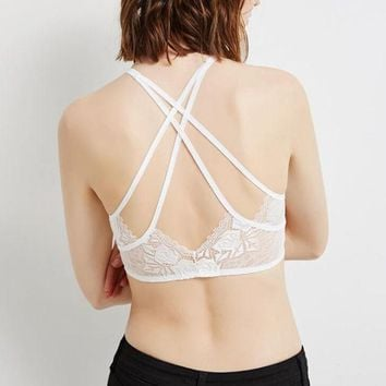 Gotopfashion Sexy white splicing lace wrap chest vest type back cross women bra top""