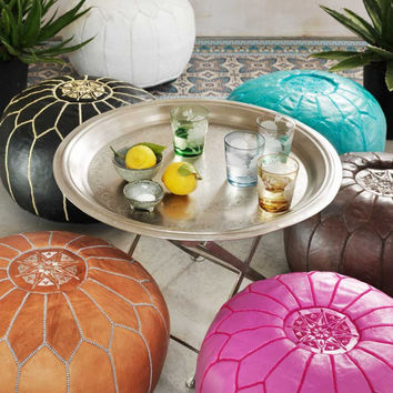 2 AMAZING HANDMADE LEATHER moroccan pouf, made by hand from genuine  leather,  gives your living-Room a beautiful moroccan style