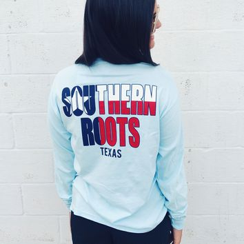 Southern Roots Texas L/S Tee - Chambray