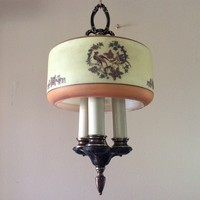 Vintage Chandelier 3 Candelabra Lights With Glass Shade Handpainted Birds 1910s