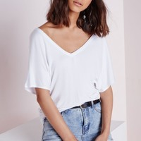 Missguided - V Neck T Shirt White