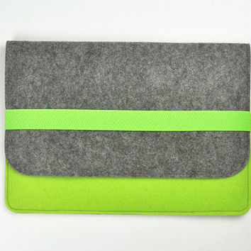 "Felt tablet case, 7 inch tablet cover,  8 inch tablet case, 10 "" felt tablet sleeve,  Felt tablet bag. Green  bags,Gray messenger bag"