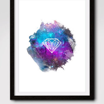 60% OFF SALE Printable Art, Galaxy Diamond Print, Galaxy Print, Galaxy Art, Outer Space, Diamond Print, Diamond Art, Home Decor