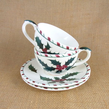 Lefton Holly and Candy Cane Cups and Saucers