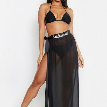 Paige Bridesmaid Embroidered Beach Sarong | Boohoo