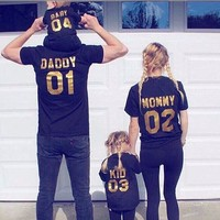 Family Matching Clothes DADDY MOMMY KID BABY Printed T-shirt