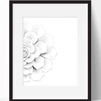 Home Decor, Black White, Flower, Art, Wall Art, Wall Decor, Living Room, Digital Print, Printable, Instant Download, Decor, Home, Bedroom