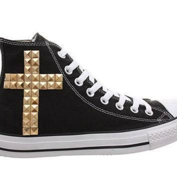 051d82aca1c3 CREYON studded converse converse black high top with gold cross pattern by  customduo